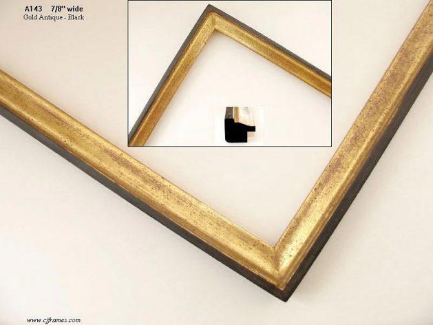 AMCI-Regence: CJFrames - Contemporary Frames - Gold Leaf - Black over Metal - Antique White - Ebony: A143