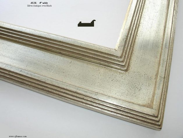 AMCI-Regence: CJFrames - Contemporary Frames - Gold Leaf - Black over Metal - Antique White - Ebony: A536