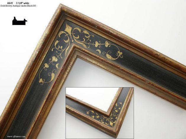 AMCI-Regence: CJFrames - Italian Frames - Gold Leaf - Black over Metal - Antique White - Ebony: A641