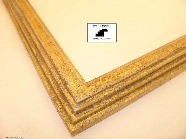AMCI-Regence: CJFrames - Contemporary Frames - Gold Leaf - Black over Metal - Antique White - Ebony: A901