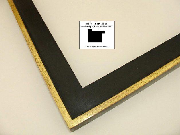 AMCI-Regence: CJFrames - Contemporary Frames - Gold Leaf - Black over Metal - Antique White - Ebony: A911