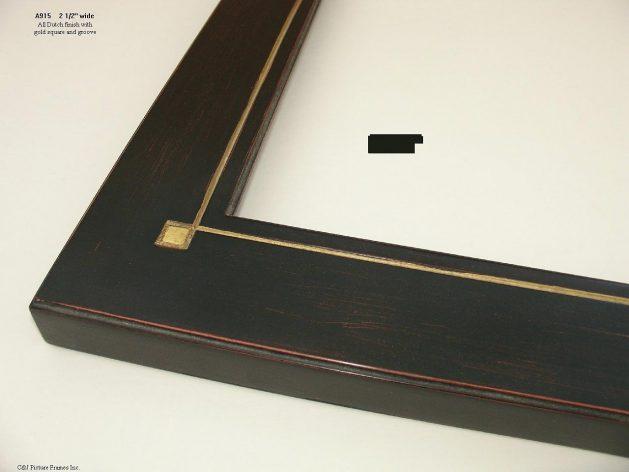 AMCI-Regence: CJFrames - Contemporary Frames - Gold Leaf - Black over Metal - Antique White - Ebony: A915