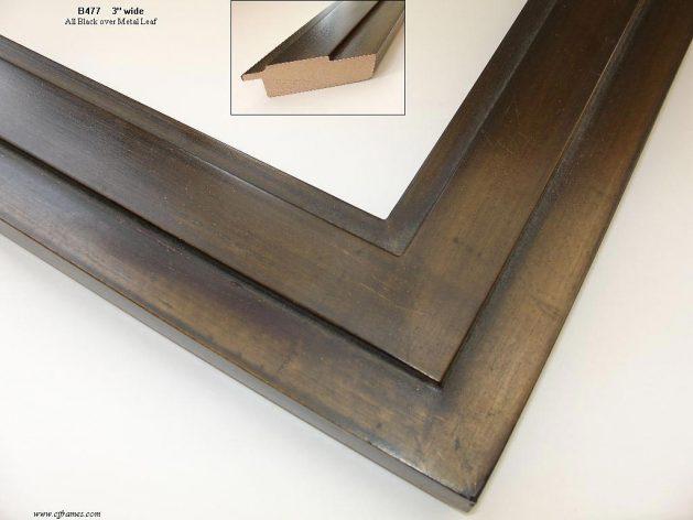AMCI-Regence: CJFrames - Contemporary Frames - Gold Leaf - Black over Metal - Antique White - Ebony: B477