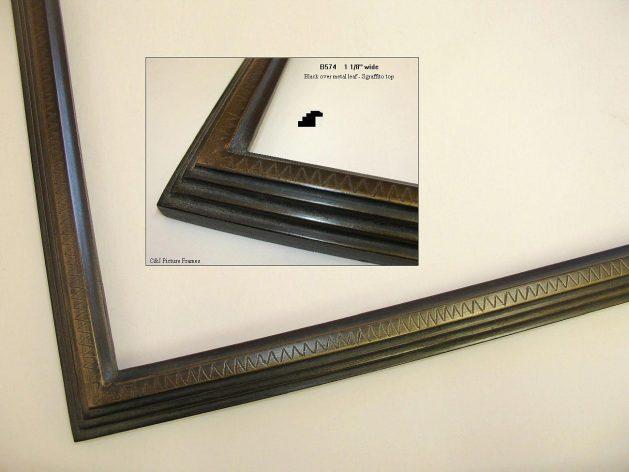 AMCI-Regence: CJFrames - Contemporary Frames - Gold Leaf - Black over Metal - Antique White - Ebony: B574