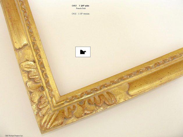 AMCI-Regence: CJFrames - French Frames - Gold Leaf - Black over Metal - Antique White - Ebony: C412
