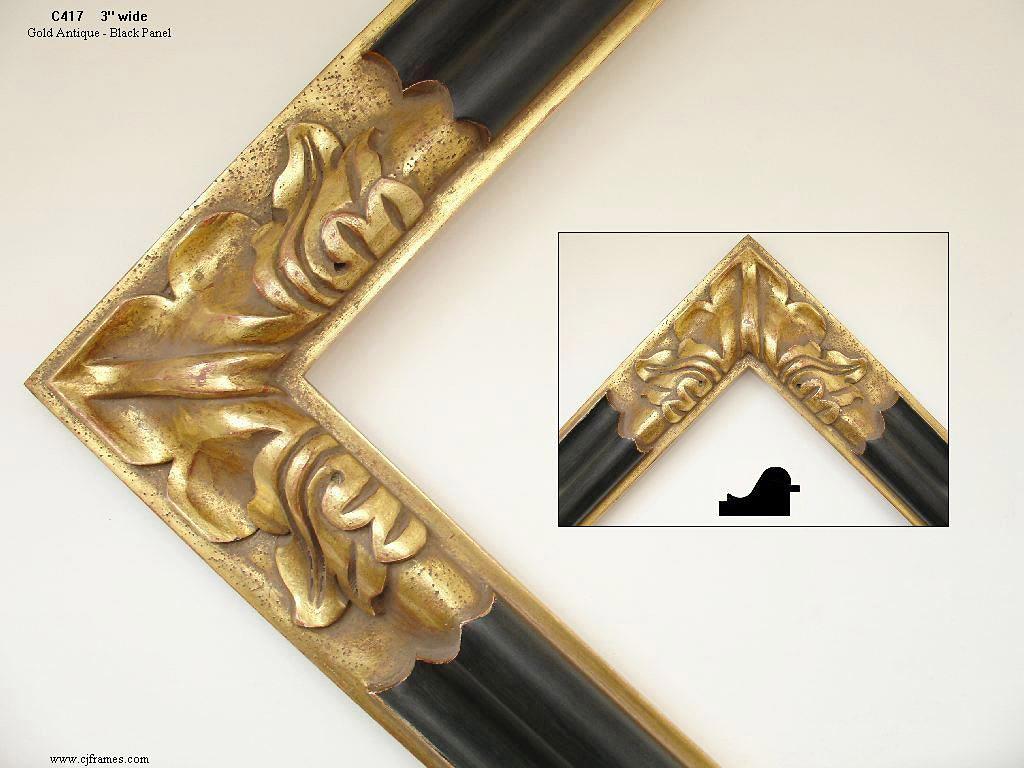 AMCI-Regence: CJFrames - Spanish Frames - Gold Leaf - Black Over Metal - Antique White - Ebony: C