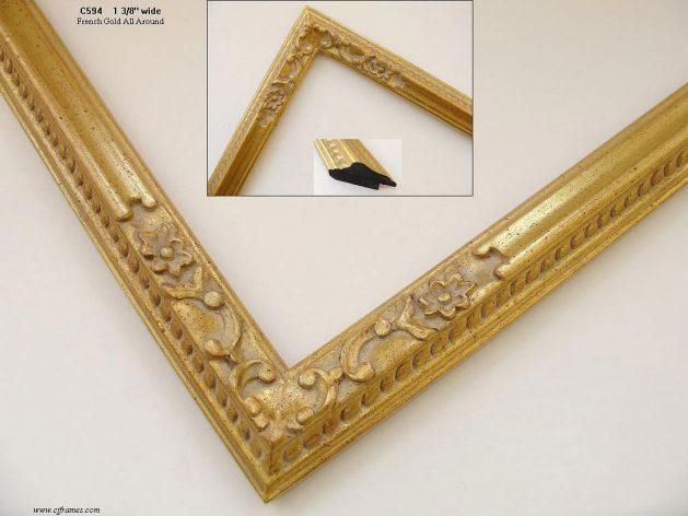 AMCI-Regence: CJFrames - French Frames - Gold Leaf - Black over Metal - Antique White - Ebony: C594
