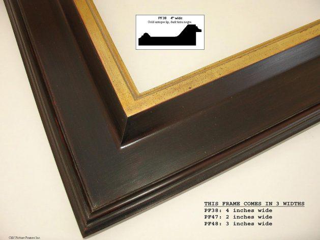 AMCI-Regence: CJFrames - Contemporary Frames - Gold Leaf - Black over Metal - Antique White - Ebony: PF38