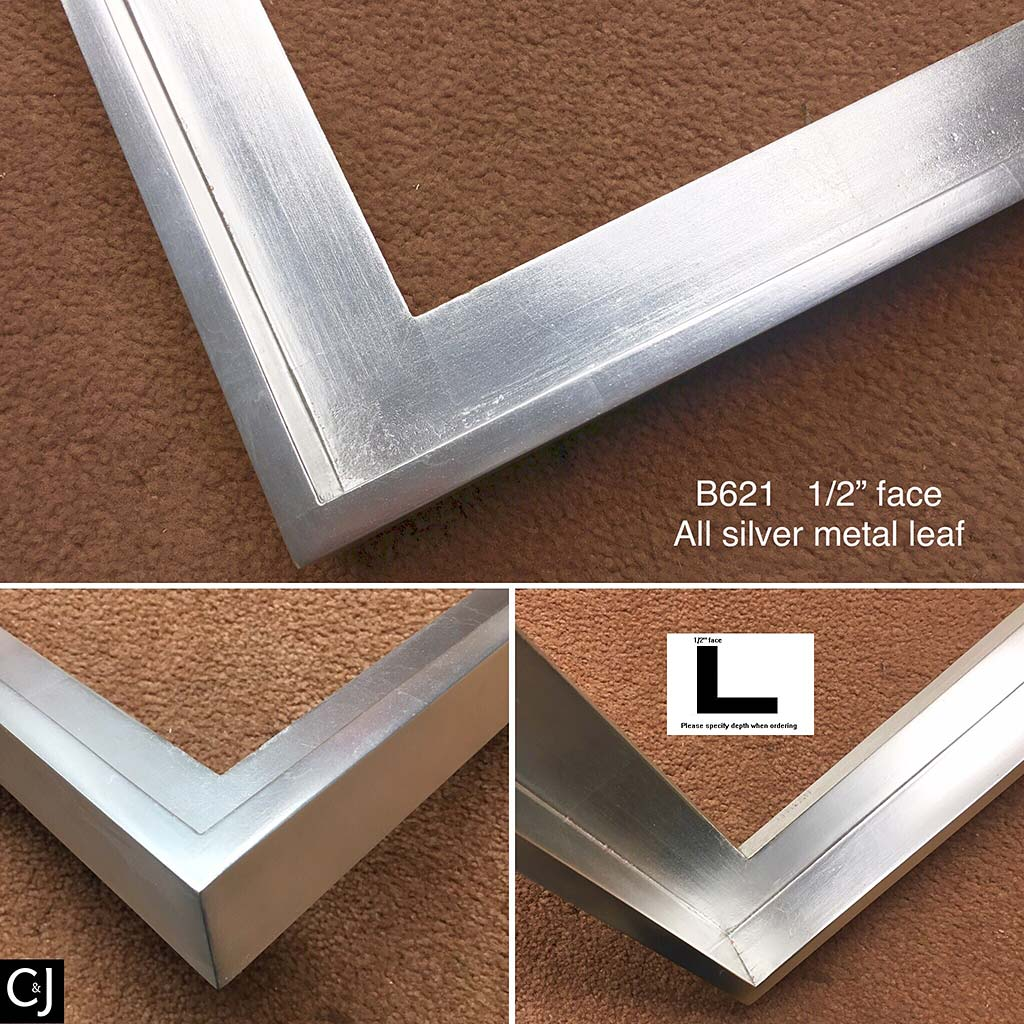 F42b- Silver ML Modern Finish: Modern Bright Silver Metal Leaf Finish.