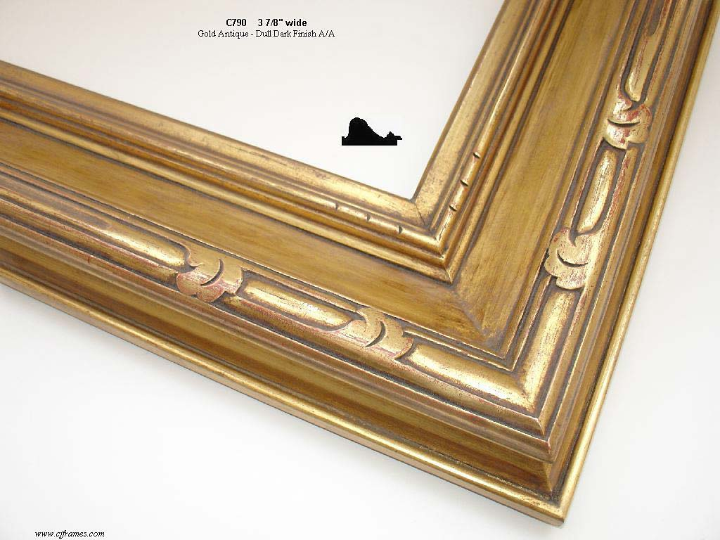 F16a- Gold Antique Dull Dark Finish: 22k Dark Stain With Matte Panel American Wash With Shellac.
