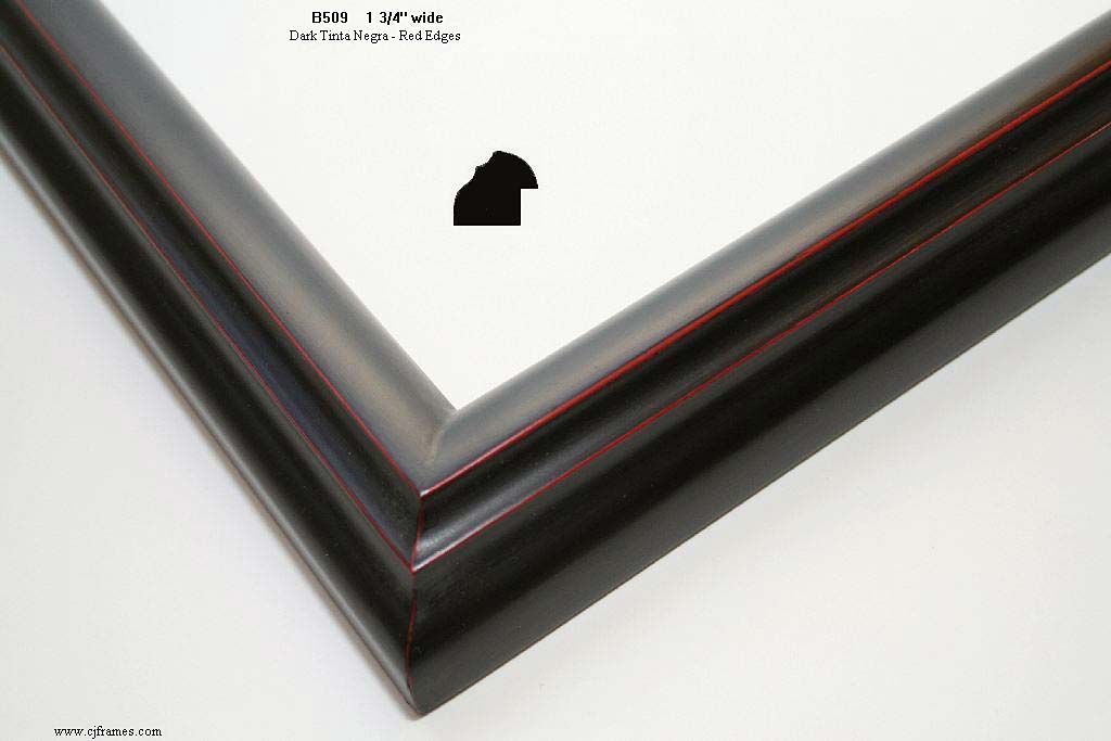 F48a- Dark Tinta Negra With Red Edges: Black Ink Finish With Extra Red Showing On Edges.