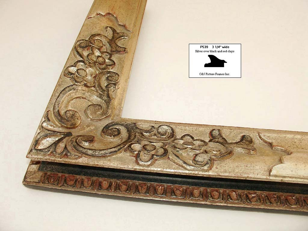 F67- Silver Antique Over Black And Red Clays: 12k Over Black And Red. For Carved Frames.