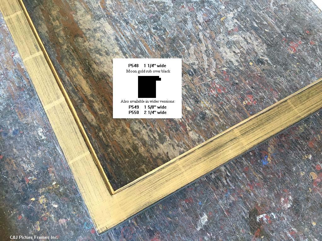 F71- Moon Gold Rub Over Black: 22k Modern Moon Gold Over Black Clay With Medium Rub.