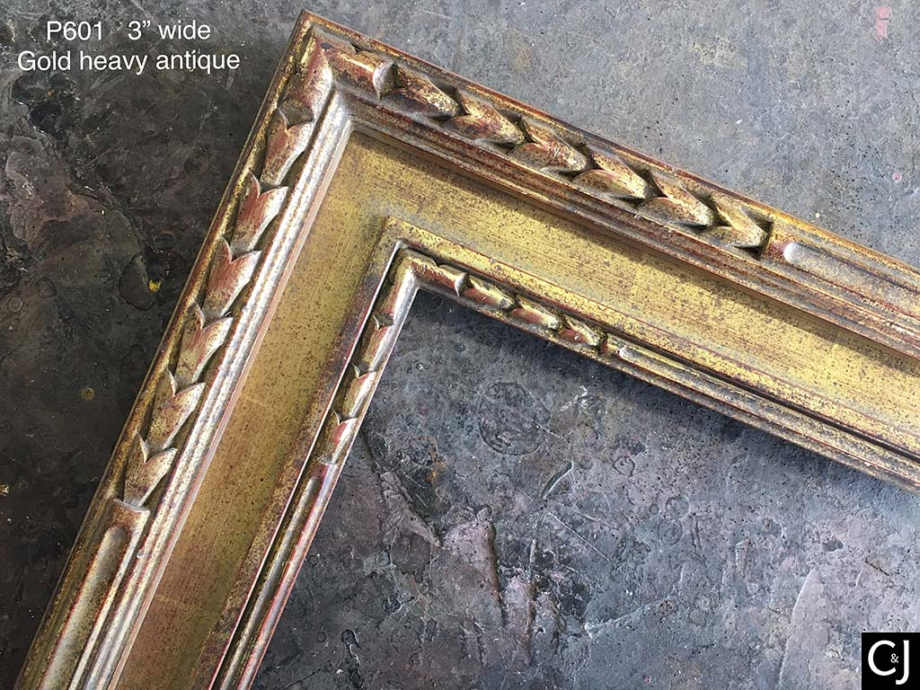 F03a- Gold Heavy Antique: Pictured On A Frame With A Flat Panel And Carving.