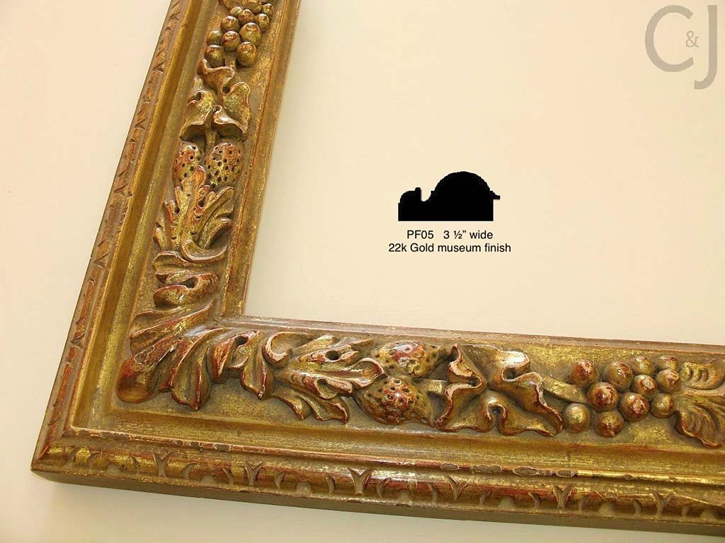 F62b- Gold Special Museum Finish PF05: 22k Over Yellow & Red. Special Wash For Carved Frames Only.