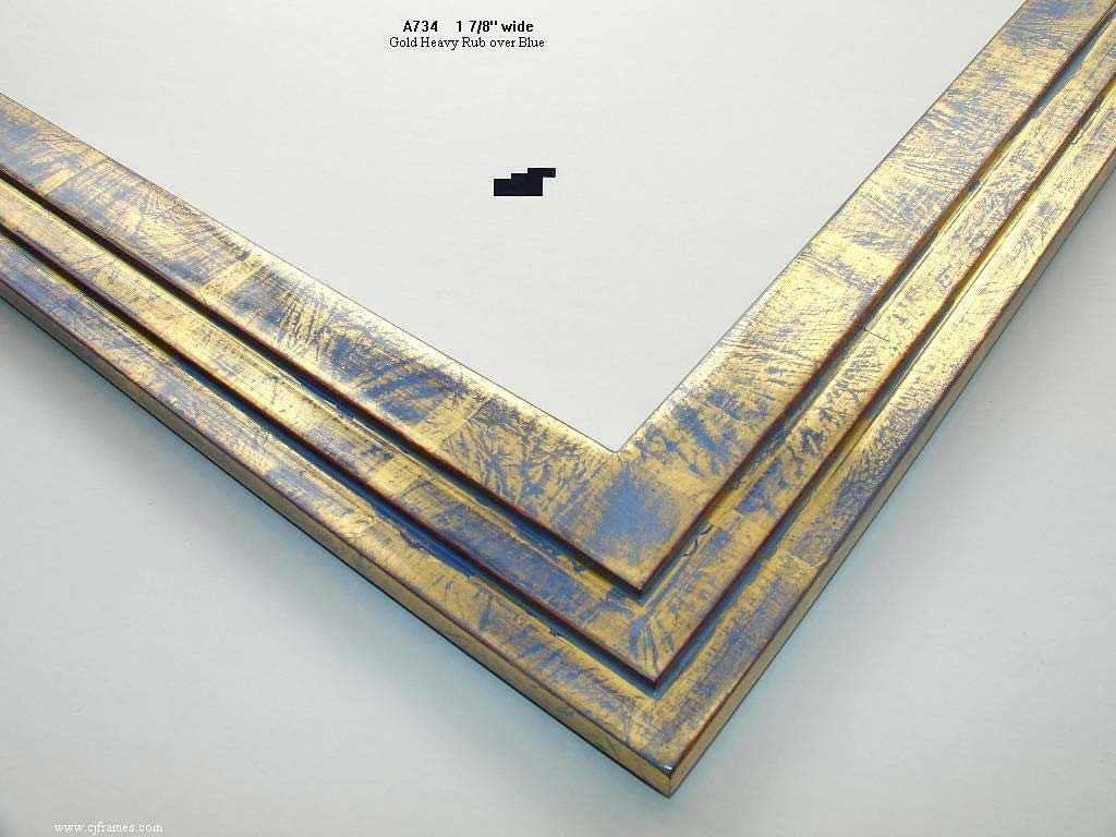 F29- Gold Heavy Rub Over Blue: 22k Gold Modern Finish With A Heavy Rub To Show Blue.