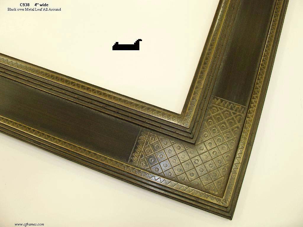 F45- Black Over Metal Leaf: Gold Metal Leaf Under Black Paint.